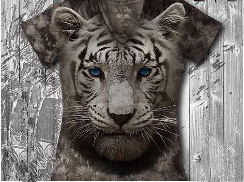 """""""Тигренок"""" Женская футболка варенка с 3D принтом, фото 2"""