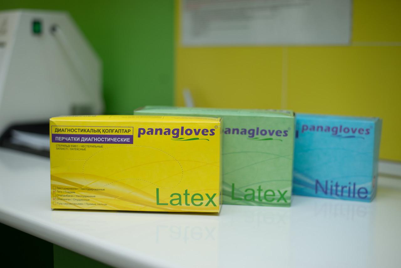 """Перчатки текстурированные латексные """"Panagloves"""" 50 пар размер M(7-8) - фото 9"""