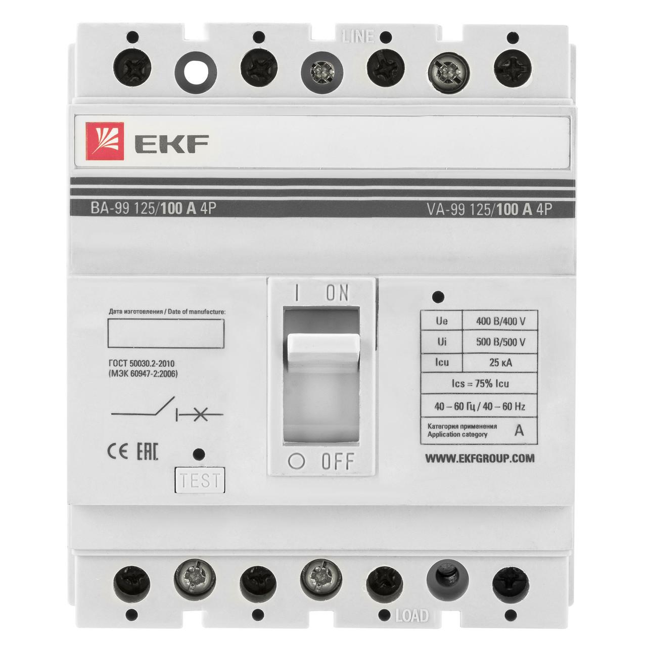 Выключатель автоматический ВА-99 125/100А 4P 25кА EKF