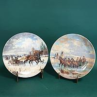 Прогулка на лошадях. Редкие коллекционные тарелки. Фирма Зельтманн Вайден, Германия.