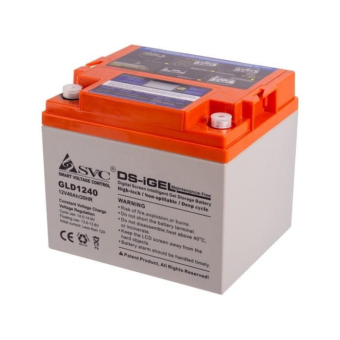 Батарея SVC GLD1240 (Батарея, SVC, GLD1240, Гелевая  12В 40 Ач, LED-дисплей, Размер в мм.: 196*166*173)