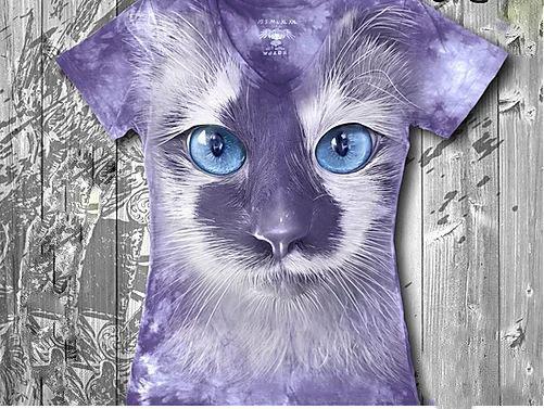 """""""Кот фиолетовый"""" Женская футболка варенка с 3D принтом, фото 2"""