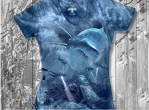 """""""Акула и аквалангисты"""" Женская футболка варенка с 3D принтом, фото 2"""
