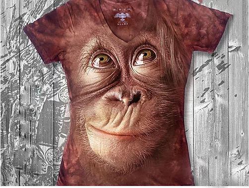 """""""Шимпанзе"""" Женская футболка варенка с 3D принтом, фото 2"""