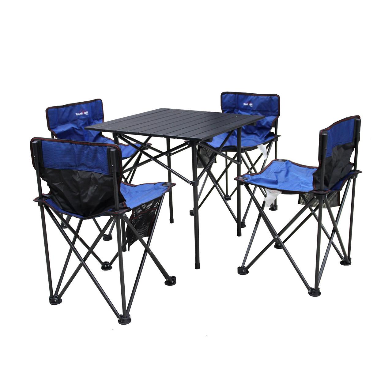 Туристическая мебель Travel Light Комплект (стол 58*58 + 4 стула 011) (370DOD)(Синий)