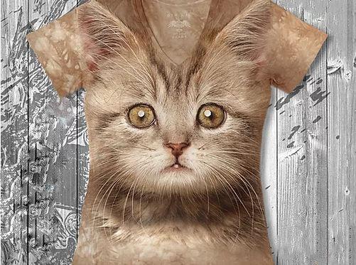 """""""Котик рыжик"""" Женская футболка варенка с 3D принтом, фото 2"""