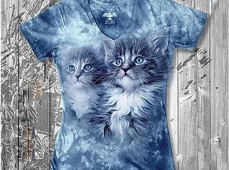 """""""Котята"""" Женская футболка варенка с 3D принтом"""
