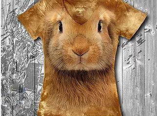 """""""Кролик"""" Женская футболка варенка с 3D принтом"""