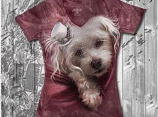 """""""Собачка белая"""" Женская футболка варенка с 3D принтом"""