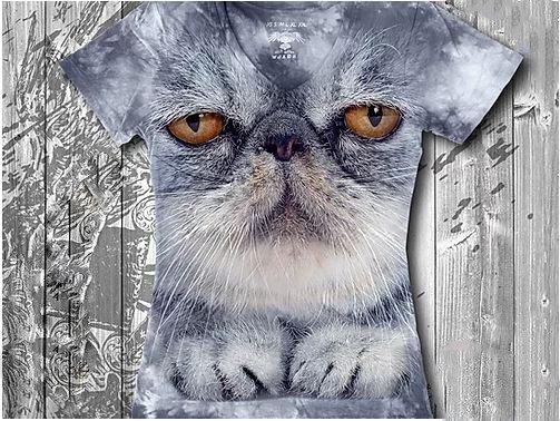 """""""Кот важный"""" Женская футболка варенка с 3D принтом, фото 2"""