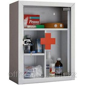 Аптечка металлическая навесная AMD-39G, 390x300x160, стеклянная дверца, 3 кг, серый