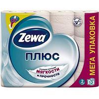 Бумага туалетная Zewa Плюс, 12 шт/уп, 2 сл., белая
