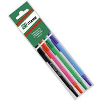 Набор шариковых ручек СТАММ 049 РШ07, 1 мм, 4 цв, корпус цветной, не прозрачный