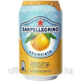 Напиток сокосодержащий San Pellegrino Aranciata газированный, апельсин, 0,33 л, ж/б