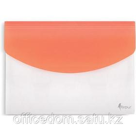 Папка-конверт на липучке, А4, с расширением, оранжевый