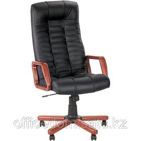 Кресло для руководителя ATLANT extra SP-A кожа, деревянные подлокотники, дерев. крестовина, черный