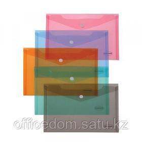 Папка-конверт на кнопке Centrum, А4, 0,16 мм, прозрачно-оранжевый