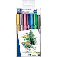 Набор маркеров metallic 6 шт. с ручкой pigment liner