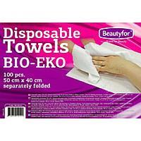 Полотенце одноразовое листовое, BIO-EKO, вискоза 100%, 50х40 см, 100 шт/уп., Beautyfor