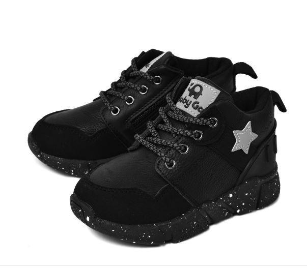 Осенние ботинки, цвет черный, со звездой, 22 размер