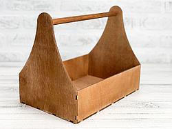 Деревянный ящик с ручкой (плотника) с покраской 30*20*22 см.