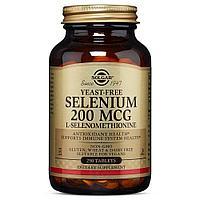 Селен, без дрожей, Солгар, 200 мкг 250 капсул