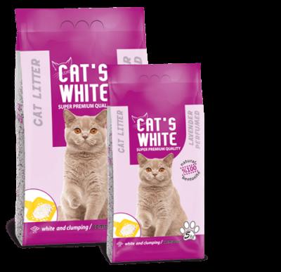 Бентонитовый наполнитель Сat's white Lavender для кошек (Лаванда) - 5 кг