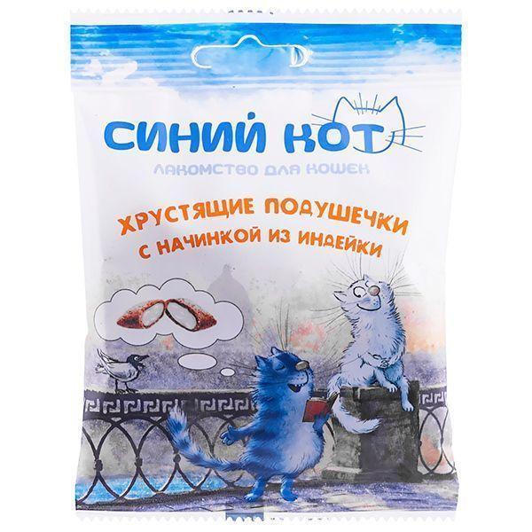 Хрустящие подушечки Синий Кот для кошек с начинкой (Индейка), TitBit - 30 г