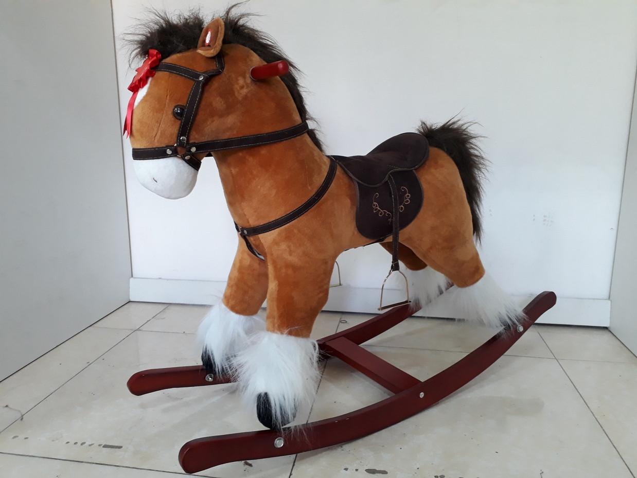 Оригинальная большая музыкальная лошадка-качалка. Kaspi RED. Рассрочка.