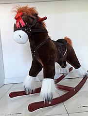 Большая музыкальная лошадка-качалка для детей. Отличный подарок