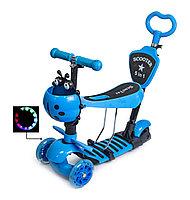 Детский самокат 5 в 1 Scooter Божья коровка голубой, фото 1