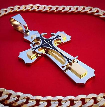 Кулон большой крест мужской STEEL RAGE из стали марки 316L, фото 2