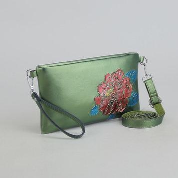 Клатч женский, отдел, наружный карман, с ручкой, длинный ремень, цвет зелёный
