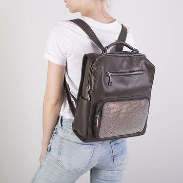 Рюкзак молодёжный, отдел на молнии, 4 наружных кармана, цвет коричневый