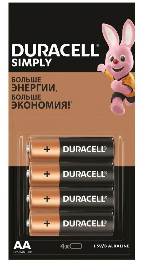 "Батарейка ""Duracell Simply"", AA (LR06), алкалиновая"