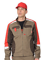 """Куртка """"Фаворит-Мега"""" серый с серым с красным СОП тк. Rodos"""