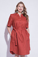 Летнее платье, лен, 44-52, цвет терракот