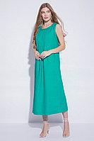 Летнее платье-сарафан, лен, 44-52, бирюзовый