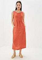 Летнее платье-сарафан, лен, 44-52, оранжевый