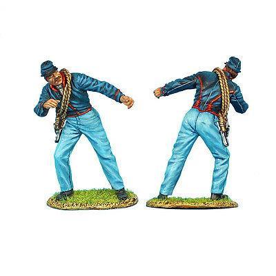 Коллекционный солдатик, Гражданская война США, Солдат Артиллерии Конфедерации, толкающий орудие