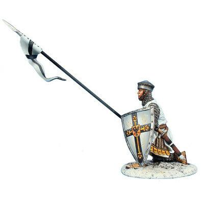 Коллекционный солдатик, Рыцари Крестоносцы, Копейщик с щитом Тевтонского ордена, на колене