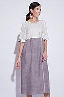 Летнее платье, лен, 46-56, белое, коричневое