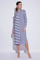 Летнее платье, вискоза, 44-52, синий, белый