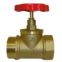 Клапан пожарного крана угловой КПЛ-65 (125) (муфта/цапка) Латунь