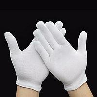 Белые перчатки нейлоновые.