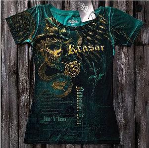 """""""Золотая роза"""" Женская футболка тотальная зеленая"""