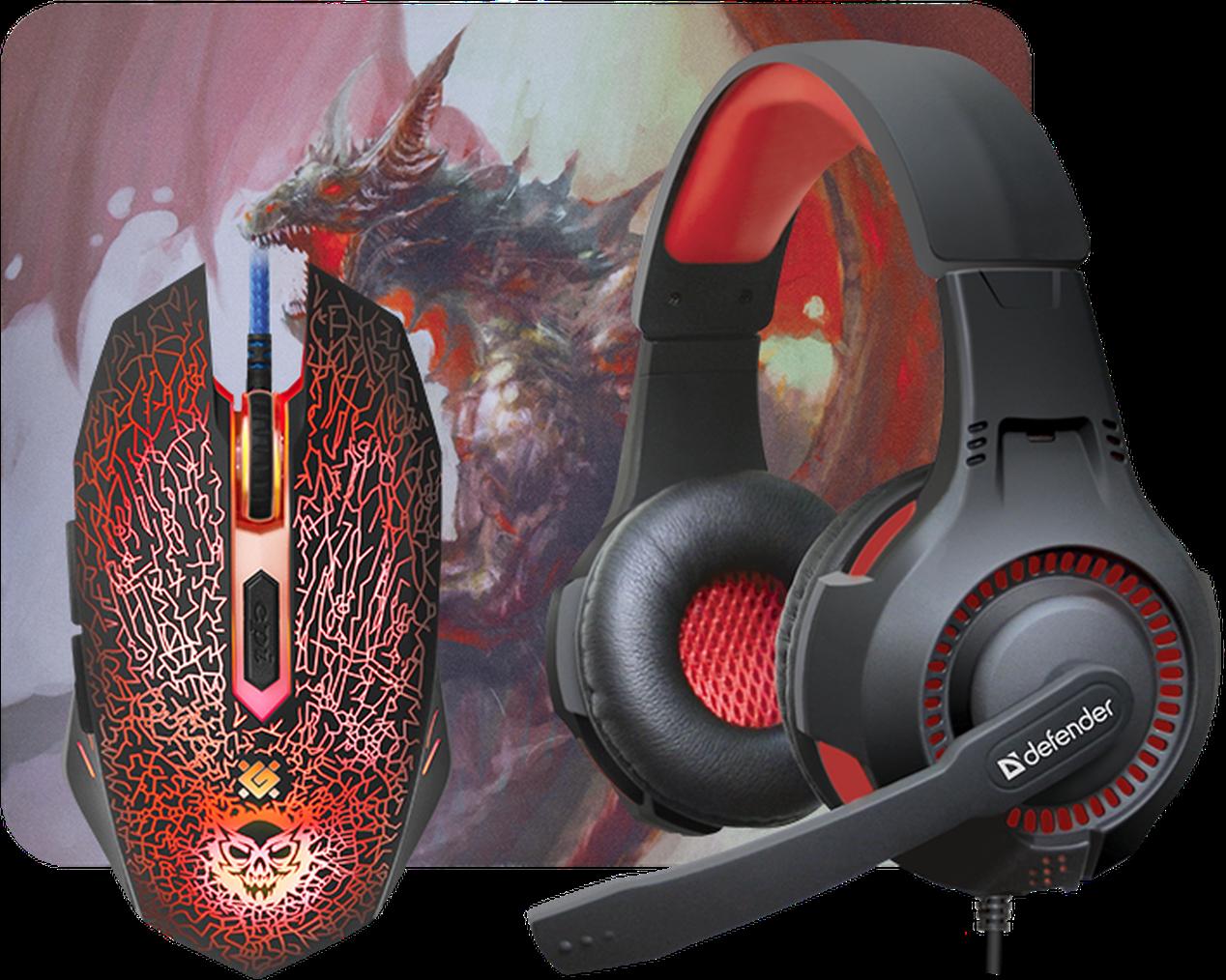 Комплект игровой Defender DragonBorn MHP-003 (Мышь+Гарнитура+Коврик)