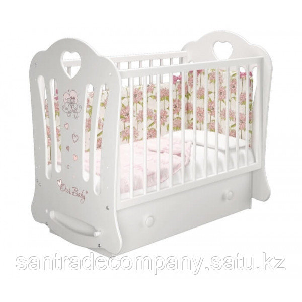 Детская кроватка Шарлотта 3 (маятник+ящик)белый,слоновая кость.