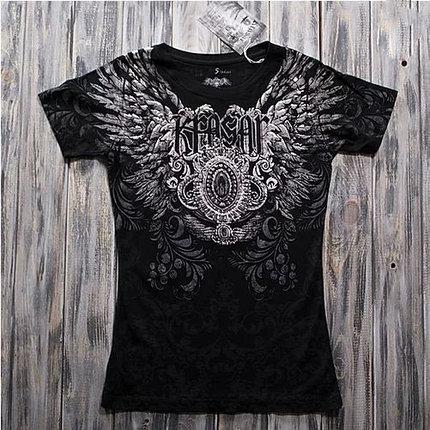 """""""Чёрный ангел"""" Женская футболка тотальная, фото 2"""