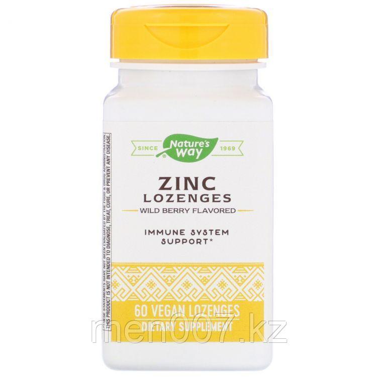 БАД Цинк 23 мг (цитрата и глюконата), витамин С 100 мг и эхинацея 20 мг (60 леденцов) nature's way США
